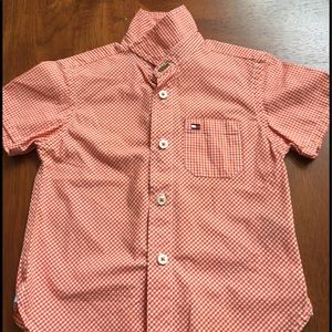 Tommy Hilfiger orange check shirt excellent sz 3T